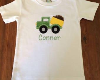 Boys dump truck shirt, dump truck appliqué