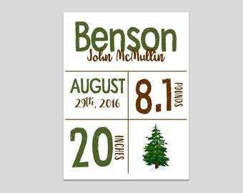 Custom Birth Print- Pine Tree