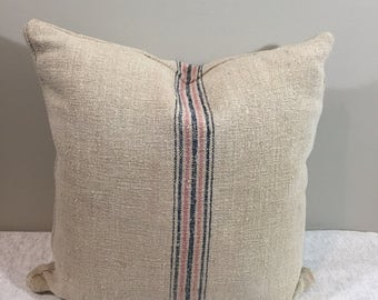 Vintage Grain Sack Pillow with Pink/Navy Stripe {M}