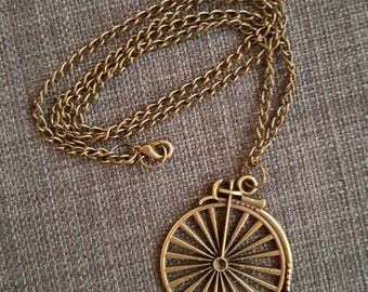 Vintage copper bicycle necklace