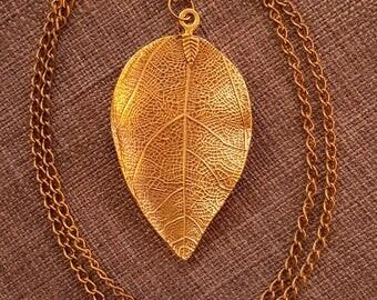 Big copper leaf necklace