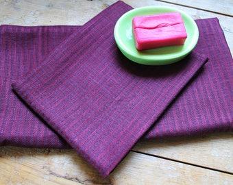 Purple linen towel set of 2, bath towels, face towel, linen towel set, spa linen towels