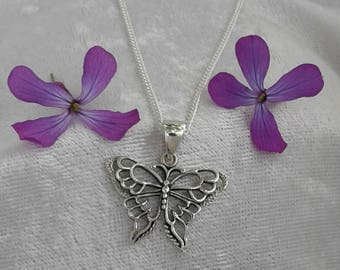 Butterfly Necklace, Butterfly Pendant, Solid Sterling Silver Butterfly Necklace