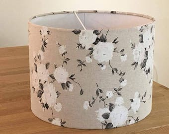 Handmade Lampshade made in a Beige, White and Grey Floral Design Fabric.