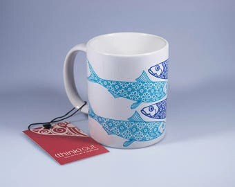 Portuguese Sardine Mug, Portuguese Tiles, Portugal Tradition, Portuguese Souvenirs, Blue, Original Art