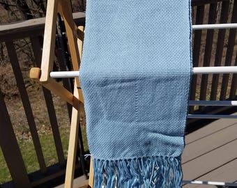 Light Blue Cotton Handwoven Scarf