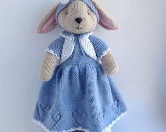 Knit Stuffed Animal Bunny Rabbit, Hand Knitted Toys, Soft Cute Toy Bunny Gift For Her, Handmade Toy Bunny 14 inch