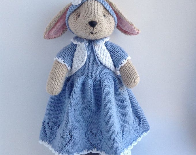 Knit Stuffed Animal Bunny Rabbit, Hand Knitted Toys, Soft Cute Toy Bunny, Handmade Toy Bunny 14 inch