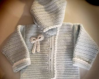Crochet baby hooded cardigan-3 to 24 months - Made to Order