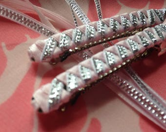 Ribbon Barrettes / Set of Two in Light Pink and Silver