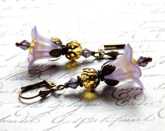 Lavender and Yellow Fancy Trumpet Flower Earrings - Frosted Acrylic Flower Crystal Earrings - Victorian Style Earrings