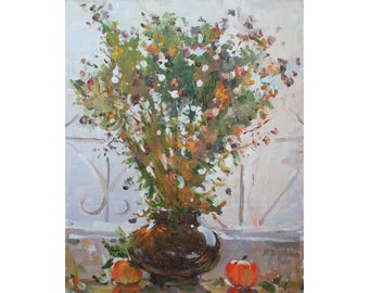 Autumn STILL LIFE Flowers in vase Red apple Oil painting Original artwork Warm colors Wall art Home decor Oil on canvas by A. Onipchenko
