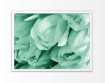 Tulips flowers wall art Mint flowers print art Above bed art print Mint print art Mint tulips print art Mint poster printables flowers art