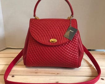Vintage BALLY Red Quilted Leather Satchel Crossbody Bag MINT Condition