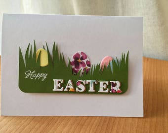 Easter Card - Brightly Coloured Eggs Hidden in Tall Grass