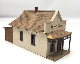 Handmade U. S. Post Office building for HO scale model train