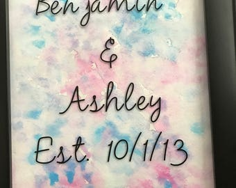 Anniversary name and date wall art