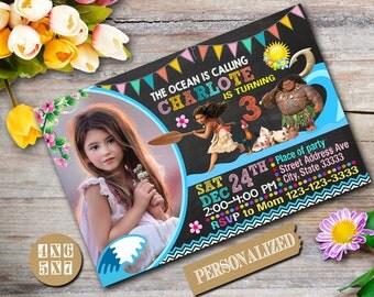 Moana Invitation / Moana Birthday / Moana Birthday Invitation / Moana Party / Moana Printable / Moana Personalized-NR124