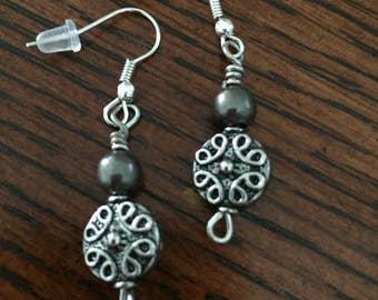 Gunmetal beaded drop earrings