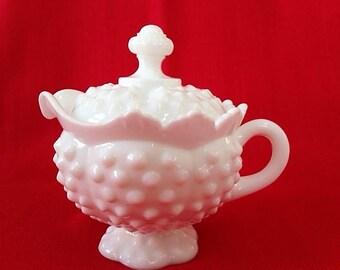Vintage Hobnail Milk Glass Creamer with lid