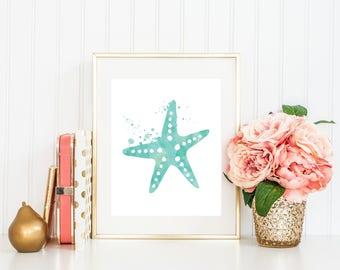 Starfish Wall Art, Blue Watercolor Art, Nautical Wall Decor, Beach Decor, Watercolor Nautical Art, Bathroom Wall Decor, Beach House Decor