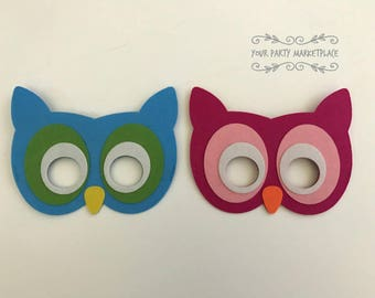 SET OF 2 Owl Party Masks, Baby Shower Party Favors, Gender Reveal Party, Owl Party Favors, Owl Party Decorations, Owl Party, Owl