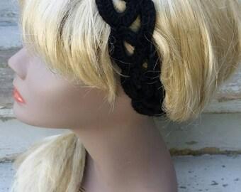 Crochet black stretchy headband- summer fashion- hair accessory- gifts for her- boho headband- multiple sizes
