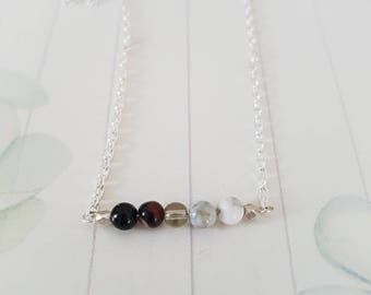 Mixed Gemstone Bar Necklace in Silver Sterling - Healing Chakra Jewelry