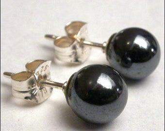 Hematite 6mm Round Studs Earrings - Sterling Silver