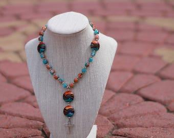 Anglican Prayer Beads + Orange/Blue