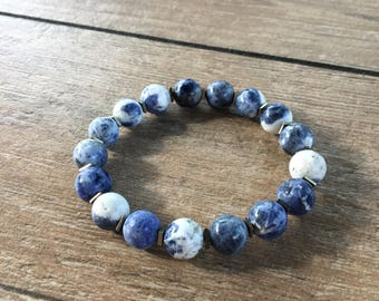 Blue stone bead bracelet with hematite spacers, large stacking bracelet, stretch bracelet