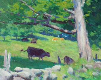 "Original 9x12 Oil Painting ""Cows on the Moove"" Impressionist Art Impressionist Painting Impressionism New England Country Scene Rustic Cow"