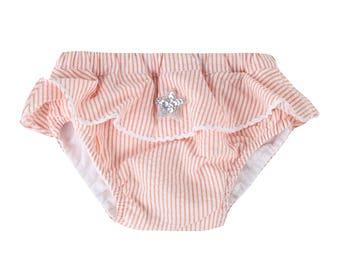 Puuper swim diaper Seersucker Leonie orange with ruffle