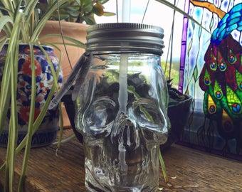 Skull Glass Drinking Jar