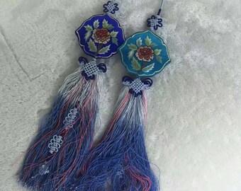 handmade silk embroidery pendant