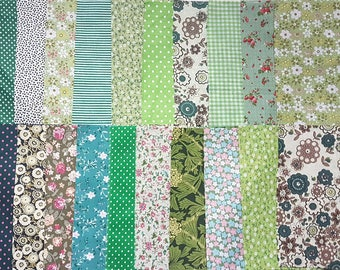 20 pcs 20x25mm Green Tone Flowers Pattern Fabric Appliques