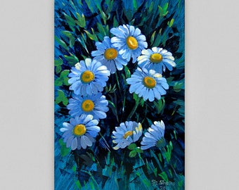 Original Paintings Chamomile painting Flowers Small gift painting Acrylic painting Daisy painting  Acryl flowers  Floral art Girl room decor
