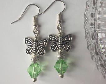 SALE! Butterfly Earrings, Green Silver Earrings, Green faceted earrings, Pretty Earrings, Birthday Gift, Gift For Her, UK Shop