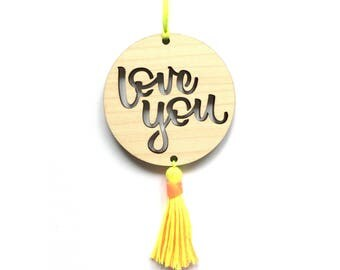 Love You laser cut wooden hanging gift tag - maple veneer wood