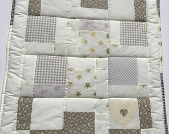 Baby quilt, baby blanket, handmade quilt, cot quilt, baby shower, christening, birthday, cream, brown, fleece, free shipping