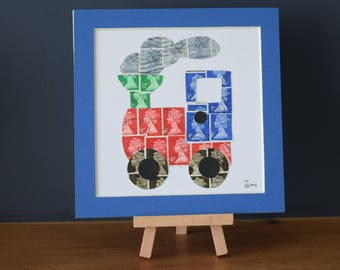 Train Mail (Square) - Recycled Postage Stamp Art