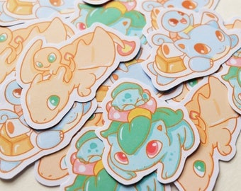 Pokemon Kanto Starter Sticker Set