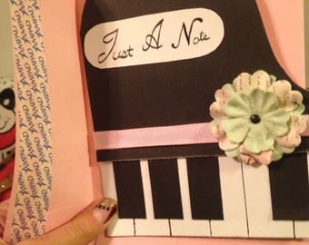 "Piano ""just a note"" Handmade blank card"