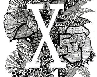 Personalised Letter Print- X-Z- Downloadable, Printable Art