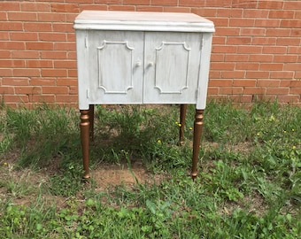White accent table, painted accent table, aged accent table
