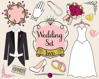 Wedding Gown Clipart , wedding gown doodle, wedding clipart, wedding doodle, wedding tuxedo clipart, DIY wedding invitation, bridal clipart