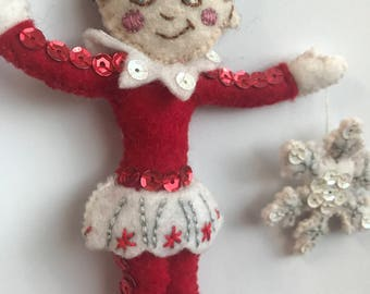 Elf On The Shelf style hanging decoration with snowflake