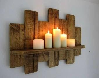 reclaimed wood candle shelf