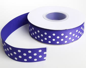 GROSGRAIN Ribbon, purple / white spotted 25 mm, 25 m