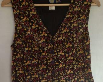 Black Velvet Vest/ 80s 90s Floral Vest/ Button Up Suede Vest/ Womens Vest/ Ladies Clothing/ Waistcoat/ Size US 10